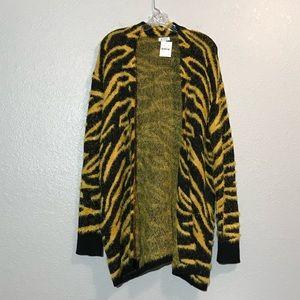 NWT Susina Open Front Yellow Zebra Cardigan